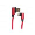 CABO DE DADOS USB 2.1A C/ PINO 90 GRAUS P/ TYPE-C C/ 1,0M E MALHA EXBOM - 2949