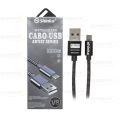 CABO DE DADOS USB 2.1A METAL P/ SAMSUNG (V8) C/ 1,0M SHINKA - SJX-II-V8