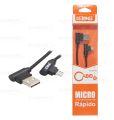 CABO DE DADOS USB 2A C/ PINO 90 GRAUS P/ SAMSUNG (V8) C/ 1,0M E MALHA LELONG - LE-824V