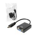 CONVERSOR HDMI MACHO X VGA FÊMEA C/ ÁUDIO (PLÁSTICO) KNUP - KP-5032