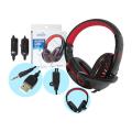 HEADFONE GAMER USB / P2 COMPATÍVEL C/ PS3 E PS4 C/ MICROFONE E LED HF-G310P4 EXBOM - 2843 Vermelho