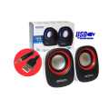 CAIXA DE SOM 2.0 5W P/ PC C/ ALIMENTAÇÃO USB E P2 CS-88 EXBOM - 3130 Branco / Vermelho
