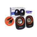 CAIXA DE SOM 2.0 5W P/ PC C/ ALIMENTAÇÃO USB E P2 CS-88 EXBOM - 3130 Branco / Laranja