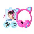 FONE DE OUVIDO BLUETOOTH GATINHO C/ LED / P2 HF-C240BT EXBOM - 2837 Pink