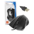 MOUSE USB C/ FIO PRETO 1600 DPI LEAVES