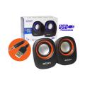 CAIXA DE SOM 2.0 5W P/ PC C/ ALIMENTAÇÃO USB E P2 CS-88 EXBOM - 3130 Preto / Laranja