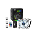 KIT 3 COOLER 120MM RGB LED C/ CONTROLADOR + FITA DE LED RGB DEX - DX-123L