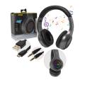 FONE DE OUVIDO BLUETOOTH 5.0 LED C/ SD / MP3 / FM / AUX B-MAX - BM-106 Grafite